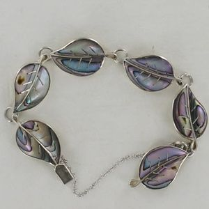 Jewelry - Vintage SIGNED Mexico Silver Leaf Abalone Bracelet